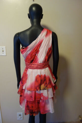 Max and Cleo Blush Pink Chiffon One Shoulder Dress Multi Color Floral Sz 4 8 12