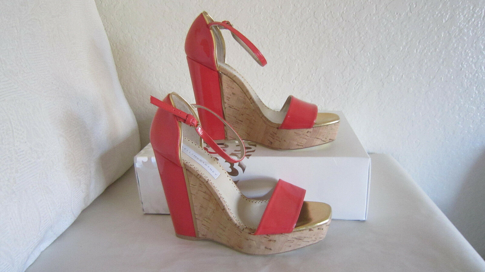 Stella Mccartney sz 10   40 Coral Patent Leather Cork Wedge Sandal chaussures