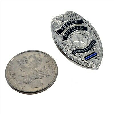 Police Officer Mini Badge Silver Shield Thin Blue Line Lapel Hat Pin Cop TBL
