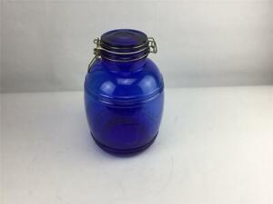Cobalt-Blue-Cracker-Barrel-Style-Canister-Jar-4-OT-Cookie-Flour-Sugar-Wire-Ball