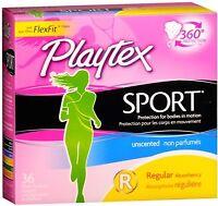 Playtex Sport Regular Absorbency Tampons, Unscented 36 Ea (pack Of 2)