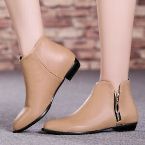 Women-Ankle-Boots-PU-Round-Toe-Zip-Plus-Size-Flats-Low-Heel-Winter-Booties-Shoes