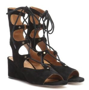 b1a317084d28 Chloe Foster Suede Gladiator Lace Up Suede Wedge Sandal Size 39.5 ...