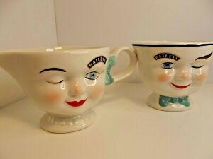Vintage Bailey's Irish Cream Winking Limited Edition Creamer and Sugar Excellent