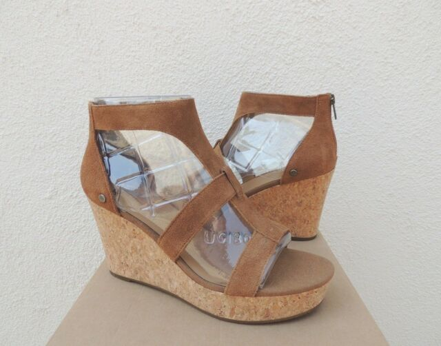 36036b240acd UGG Whitney Suede Strappy Platform Wedge HEELS Women US 9  EUR 40