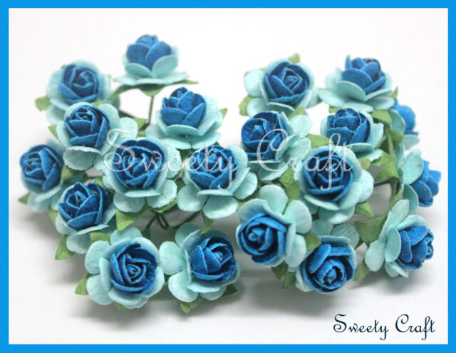 50 Blue two tone color Mulberry Paper Rose Flower handmade size 1.5 cm. card