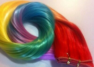 """Ombre Rainbow Hair Extension Weave/Weft 100% HTF Synthetic 24""""(heat Styling)"""