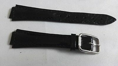 Philip Watch Vintage Leather Strap Black Mm 18/12 Steel Buckle Mm 12 Nos Superior In Quality