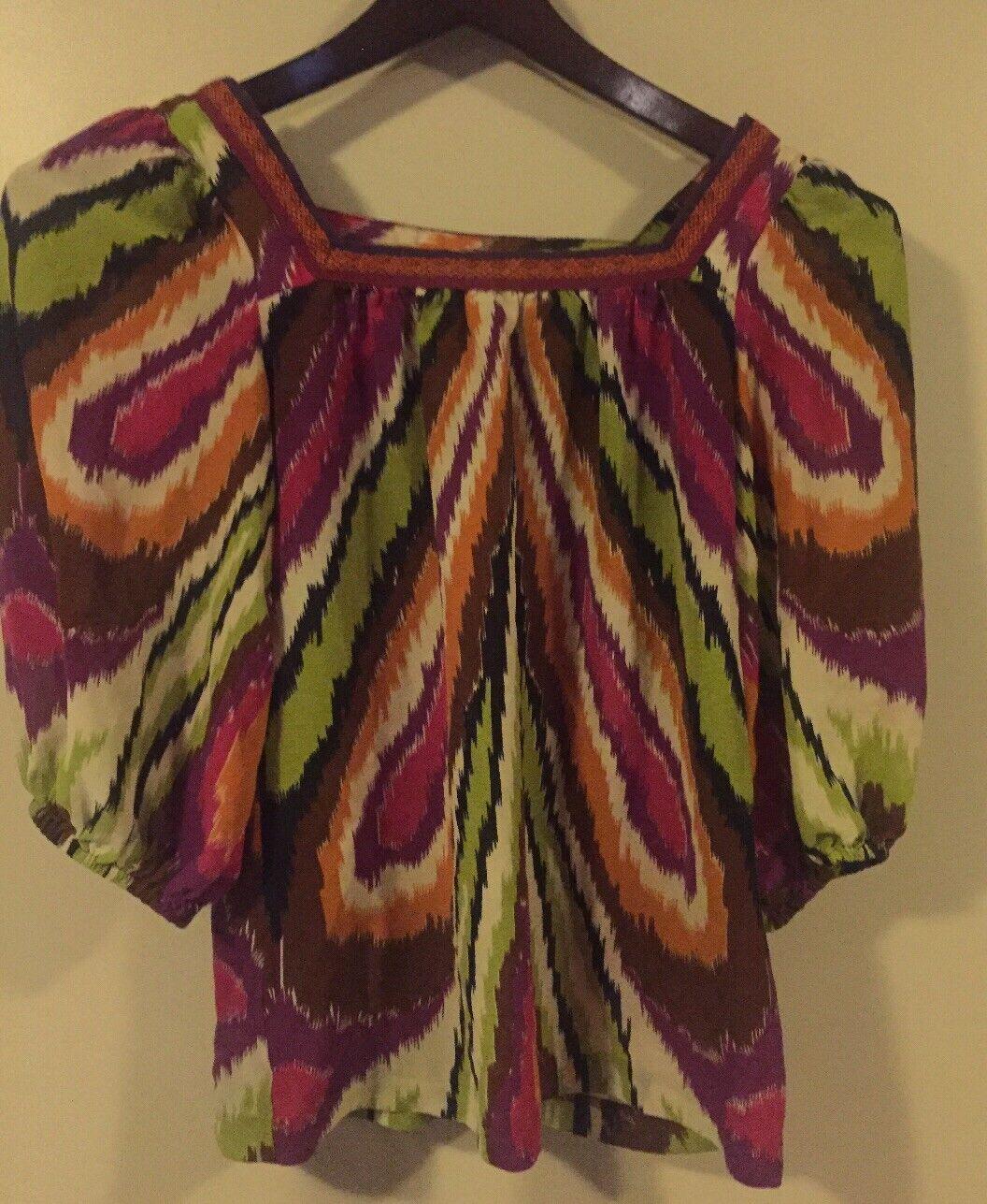 damen Silk Trina Turk butterfly puff sleeves top in multi-Farbe art print