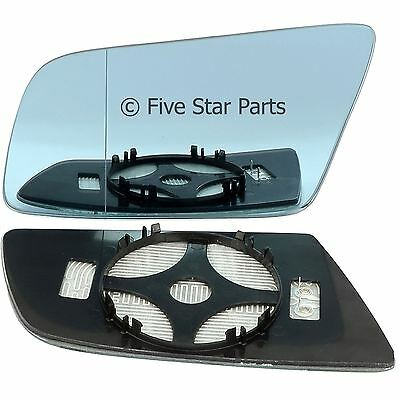 Left Passenger blue Wide Angle Wing mirror glass for BMW 5 Series 03-10 Heated