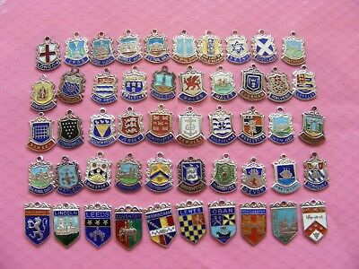 VINTAGE STERLING SILVER CHARM CHARMS UK /& EUROPE TRAVEL SHIELD 14