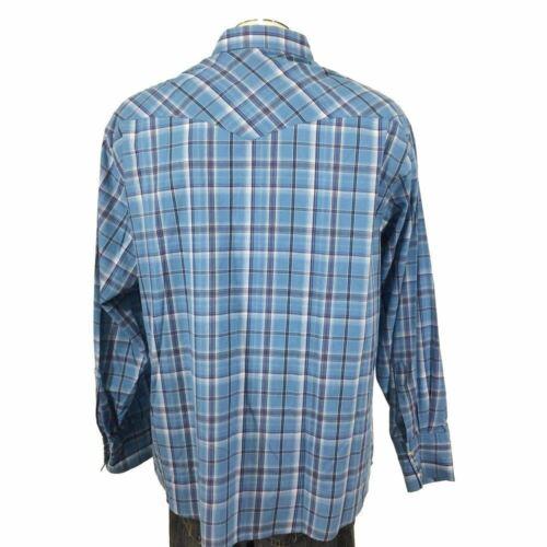 Wrangler Western Pearl Snap Shirt 2XL Blue Black Plaid Mens 9725