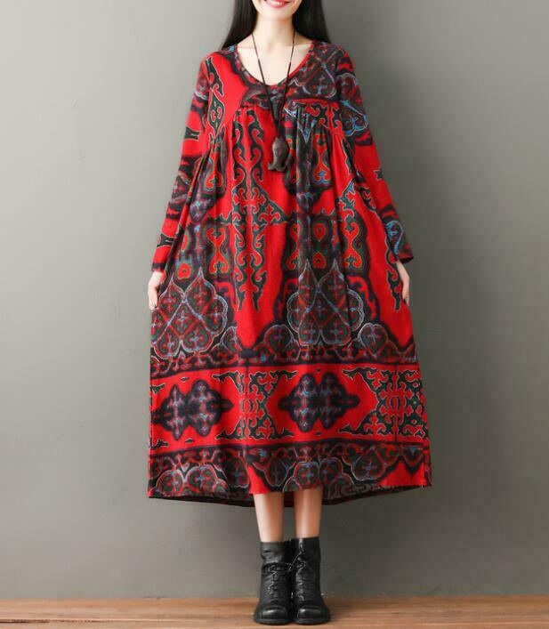 Retro Women's Floral Linen Cotton Dress Long Sleeves Loose Maxi Red Casual Robe
