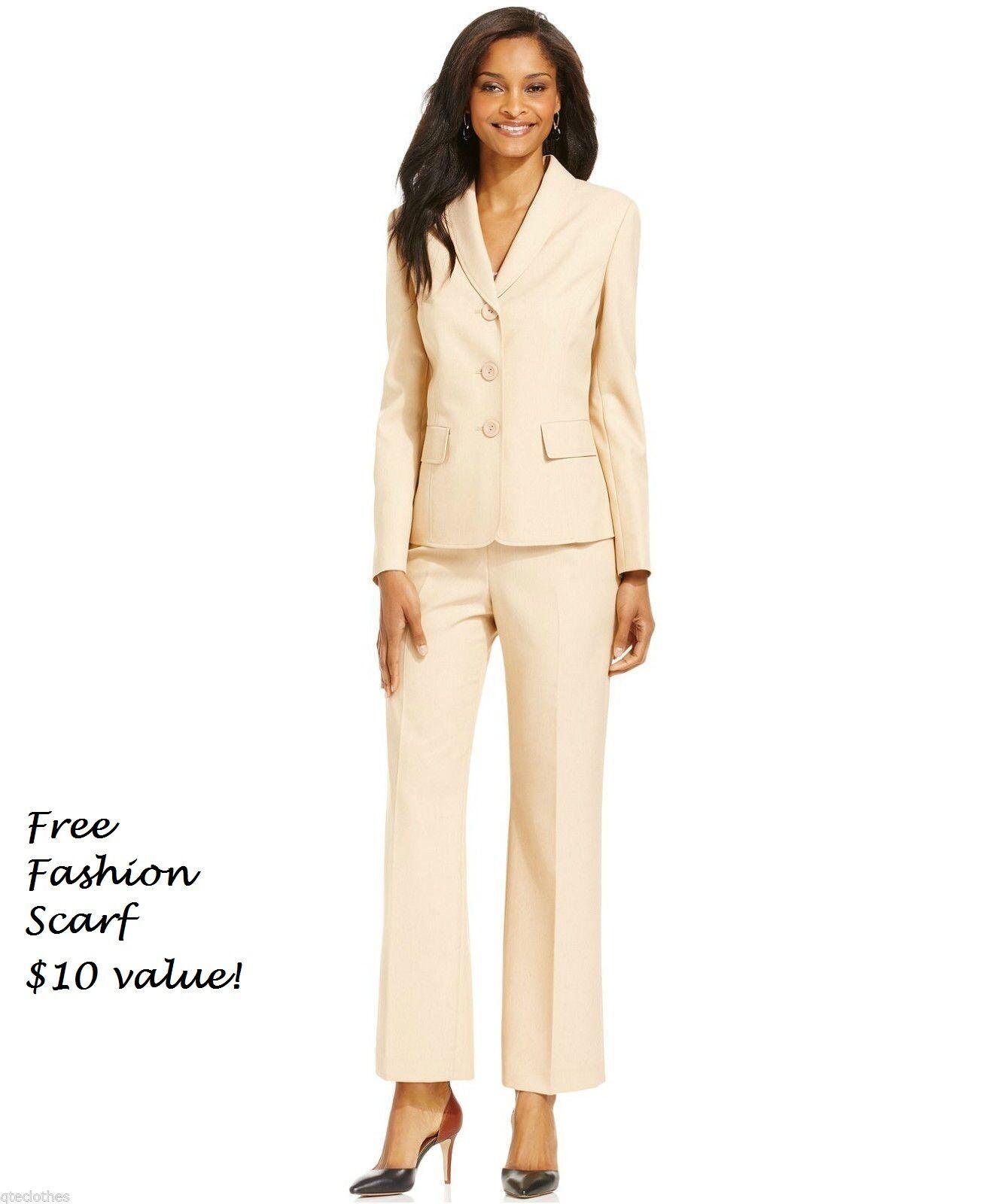 LE SUIT  NEW Bamboo Beige Blazer Flat Front Pant Dress Suit Set 18 L31 QCO