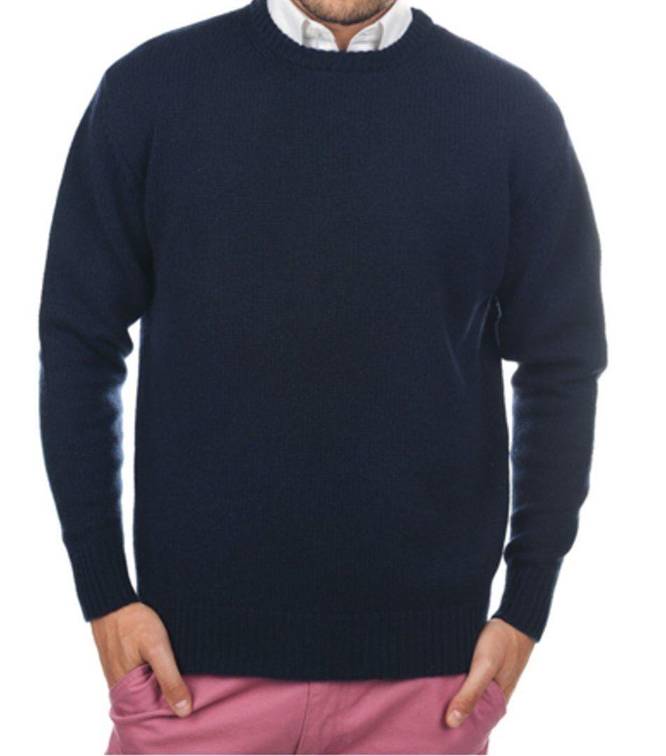 Balldiri 100% Cashmere Herren Pullover Rundhals 8-fädig nachtblau L