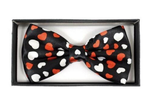 New Mens VALENTINES DAY Red//White Heart Black Banded Bow Tie
