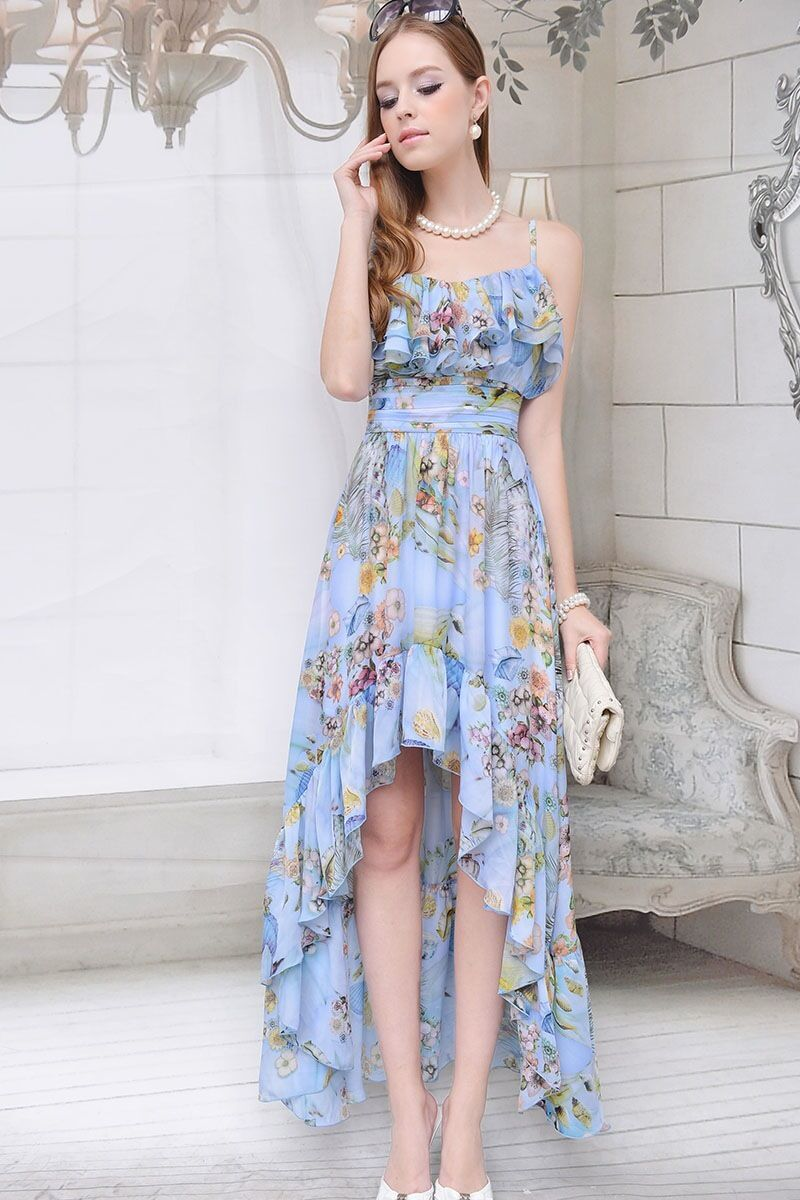 Wedding Balls Party Floral Print Ruffle Asym Maxi Long Baby bluee Dress SA-0034