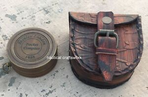 SET-3-Vintage-Brass-Sundial-Compass-Brass-Leather-Telescope-West-London-Marine