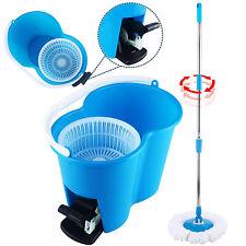 360° Rotating Microfiber Spinning Magic Spin Easy Floor Mop W/Bucket 2 Head Blue