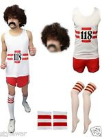 Mens Ladies 118  Vest Shorts Fancy Dress Party Costume Marathon Wig Tash Socks