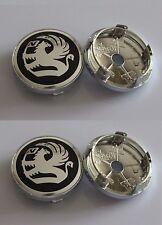 Set of 4 Black Vauxhall 60MM  New Style Alloy Wheel Badges Center Caps  UK