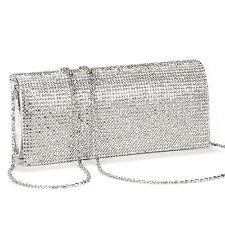 Shimmering Diamante Crystal Evening Clutch Purse Wedding Prom Women Bag Silver