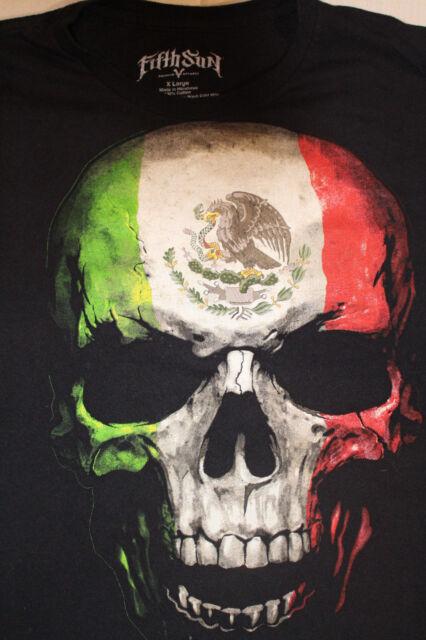 Fifth Sun Mexican Flag Skull Men's XL Black T Shirt