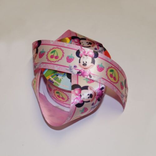 1 Metre Disney Minnie Mouse Cherries Strawberries 38mm Satin Craft Ribbon