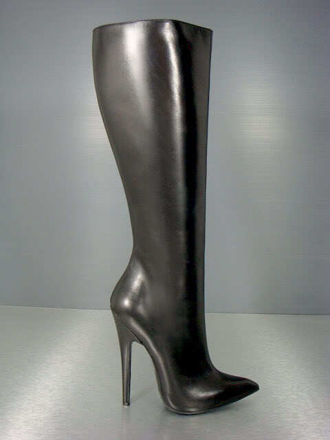 CQ COUTURE KNEE HIGH EXTREME HEELS BOOTS STIEFEL STIVALI LEATHER BLACK black 41
