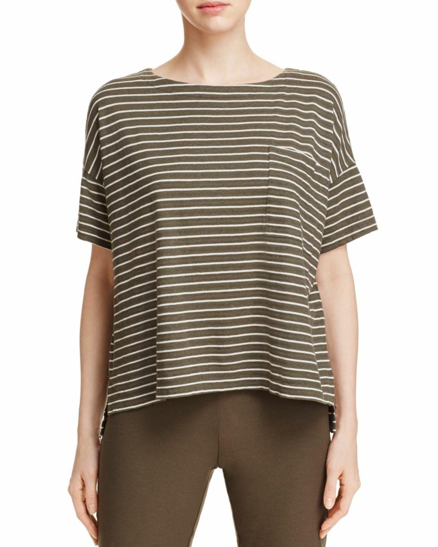 Eileen Fisher Olive Striped Hemp Organic Cotton  Groove Bateau Neck Box Top  M