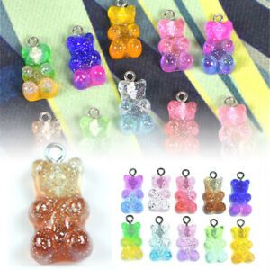 50Pcs Resin Cute Bear Mixed Color Charms Pendant DIY Keychain Making Necklace ➳