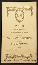 Antike Menükarte Hochzeit Belgien 1923 Belgium Wedding Dinner Menu Card (Y-2388
