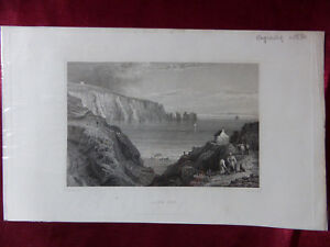 VIEW-of-ALUM-BAY-NEEDLES-ISLE-OF-WIGHT-Antique-engraving-c1830-Veduta-print