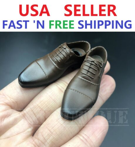 1//6 scale BROWN shoes PEG TYPE for Custom 12/'/' Male Figure Body Doll Accessory