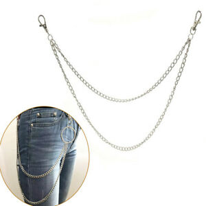 Extra-Long-Metal-Hipster-Jean-Belt-Keychain-Ring-Clip-Key-Chain-Punk-Silver-sf