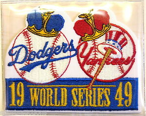 1949 WORLD SERIES PATCH CARD Willabee & Ward NEW YORK YANKEES / BROOKLYN DODGERS