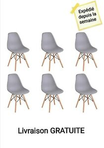 6 Chaises Scandinaves grise