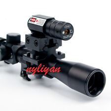 Set 4x20 Air Gun Rifle Scope+ Red Dot Laser Sight+Adapter Mounts for Hunting