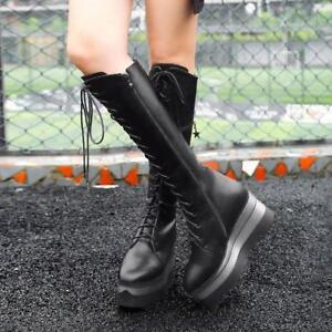 Fashion-Punk-Women-039-s-Knee-High-Boots-Wedge-Heel-Platform-Lace-Up-Shoes-Party-HOT