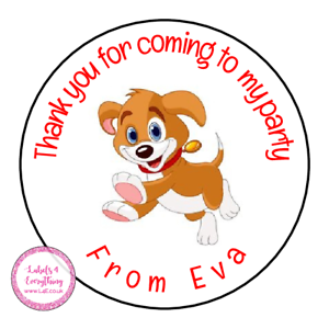 Personalised-Puppy-Dog-Animals-Birthday-Thank-You-Party-Stickers-Sweet-Cones