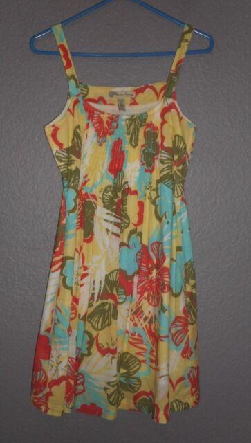 5f03d00344 American Rag Cie Sundress Yellow Multi-color Floral 100% Cotton Junior Sz  Small