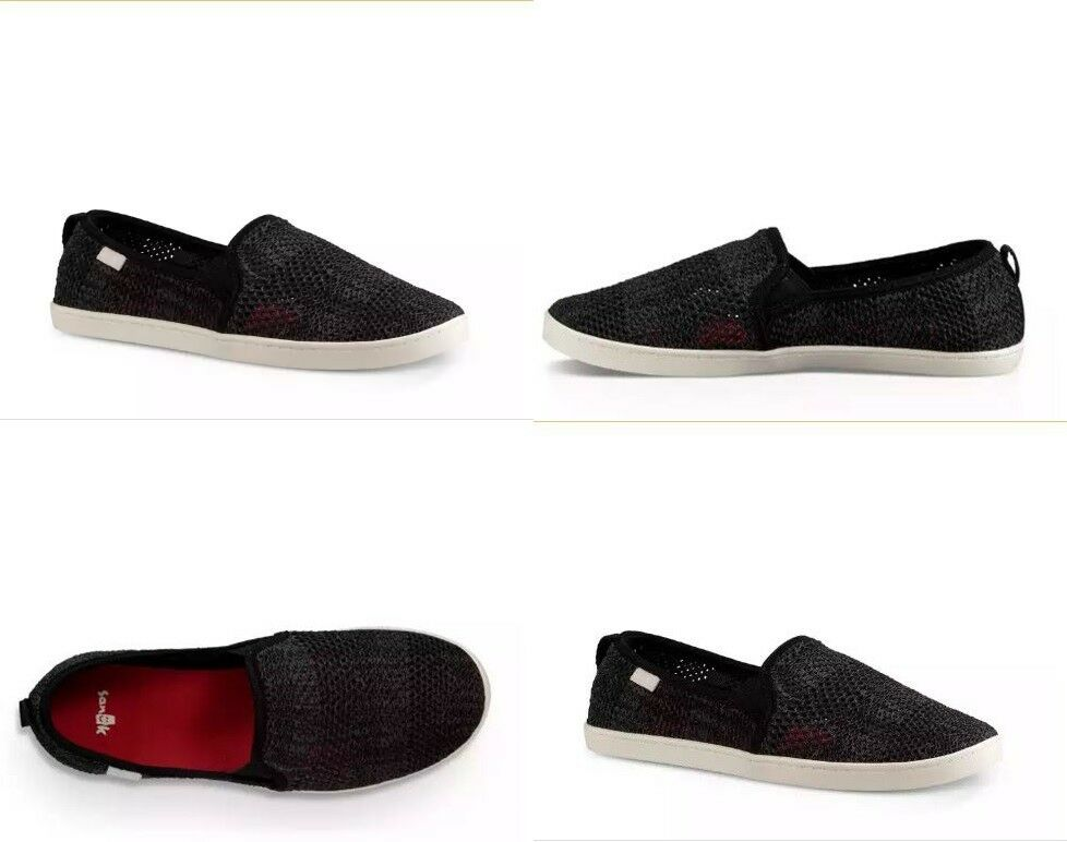Sanuk Brook Knit Sneakers Sidewalk Surfer Shoes Black Women's Size 8 US
