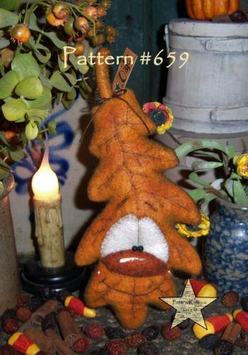 "Patti/'s Ratties Primitive Halloween Thanksgiving 8/"" Leaf Doll Paper Pattern #659"