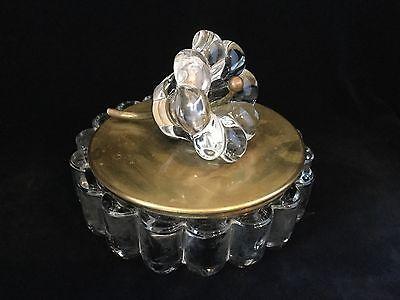 Heisey Flower Glass & Brass Candy Dish-Mid Century Modern.               #27