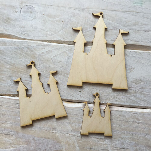 Wooden PRINCESS CASTLE Shape Craft Blank Embellishment PRINCESS CASTLE 10 Pack