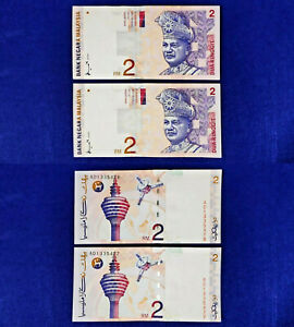 Malaysia-1996-98-8th-Rm2-UNC-x2-Consecutive-Numbers-A-Don