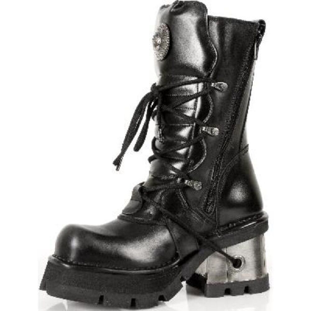 New Rock 373-s3 Damen Damen Damen Schwarz 100% Leder Gothic Punk Emo Rock Biker Stiefel f35f18