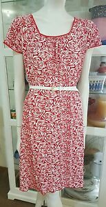 Capture-jersey-red-rose-dress-Sz14-Lace-trim-Stretchy-As-new