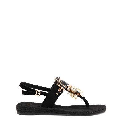 Versace Jeans Diseñador piedras preciosas sandalias flip flop Negro,.