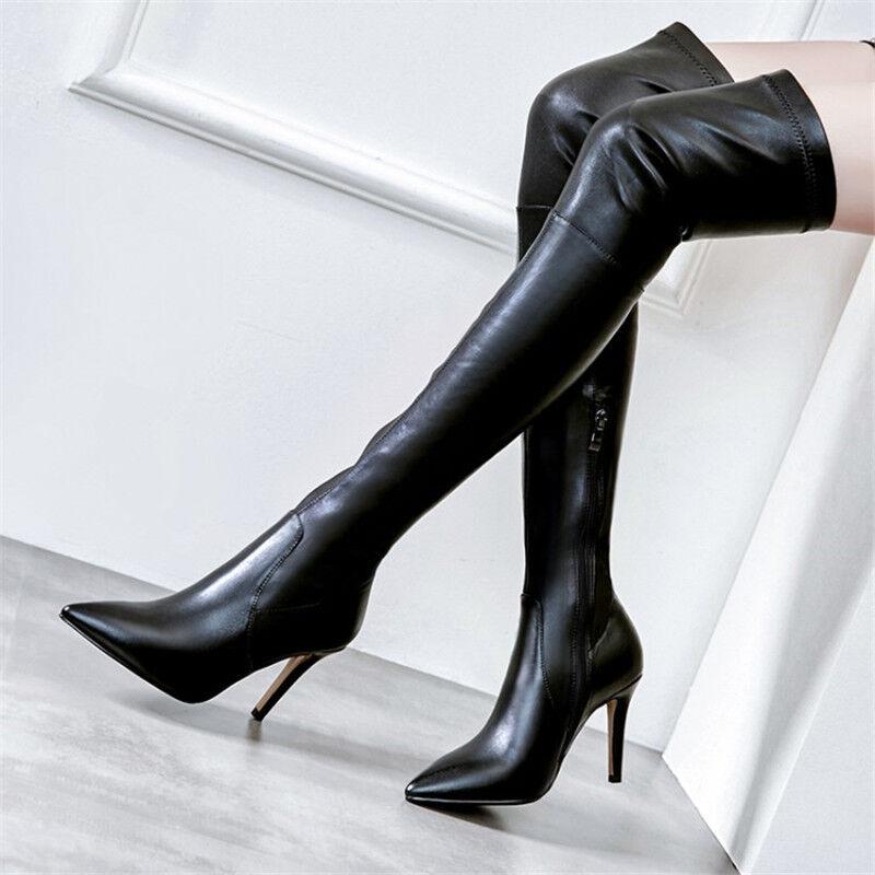 Femme Sexy Dessus Genou Bottes stiletto Cuisse Talon Haut Bout Pointu Club Chaussures